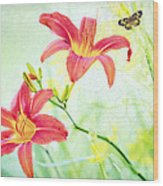 Day Lily Delight Wood Print by Bonnie Barry