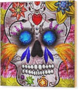 Day Of The Dead - Death Mask Wood Print