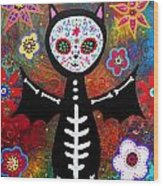 Day Of The Dead Bat Wood Print