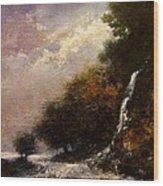 Daybreak Falls Wood Print