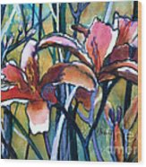Daylily Stix Wood Print by Kathy Braud