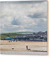 Daymer Bay Beach Landscape In Cornwall Uk Wood Print
