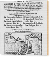 De Re Metallica, Title Page, 16th Wood Print by Science Source