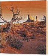 Dead Tree In Desert Monument Valley Wood Print