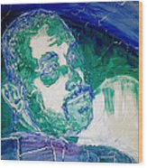 Death Metal Portrait In Blue And Green With Fu Man Chu Mustache And Cracking Textured Canvas Wood Print by M Zimmerman