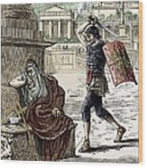 Death Of Archimedes In Sack Of Syracuse Wood Print