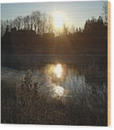 December Sunrise Off Smooth Water Wood Print