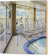 Deck Chairs Around Hotel Pool Wood Print