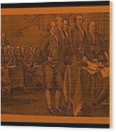 Declaration Of Independence In Orange Wood Print