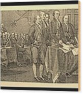Declaration Of Independence In Sepia Wood Print