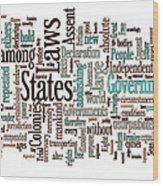 Declaration Of Independence Word Cloud Wood Print