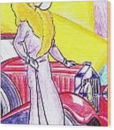 Deco Lady With Auto Wood Print