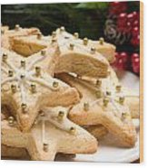 Decorated Christmas Cookies In Festive Setting Wood Print