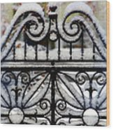 Decorative Iron Gate In Winter Wood Print