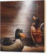 Decoys In Old Hunting Cabin Wood Print