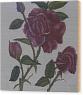 Deep Red Roses Wood Print