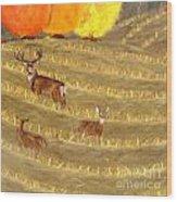 Deer In Field Wood Print