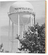 Deerfield Beach Tower In Black And White Wood Print
