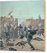 Defending The Fort Wood Print by Charles Schreyvogel