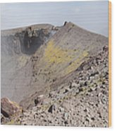 Degassing North Crater With Fumarolic Wood Print