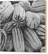 Delicata Winter Squash In Black Wood Print