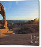 Delicate Arch Bowl Starburst Wood Print