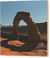 Delicate Arch Under Moonlight Wood Print