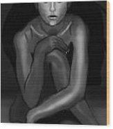 Demi Moore Black And White Wood Print