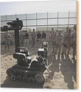 Demonstration Of A Bomb Disposal Robot Wood Print