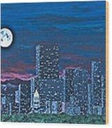 Denver Moon Wood Print