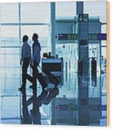 Departure Gate At The Airport Wood Print