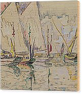 Departure Of Tuna Boats At Groix Wood Print by Paul Signac