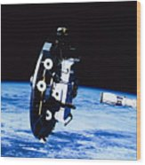 Deployment Of A Satellite In Space Wood Print