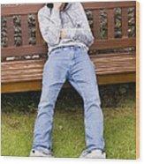 Depressed Teenage Boy On Park Bench. Wood Print