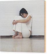 Depressed Woman Wood Print