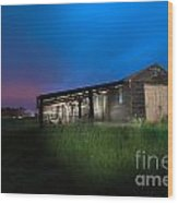 Derelict Barn At Night Wood Print