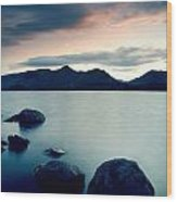 Derwent Water With Catbells At Sunset Wood Print