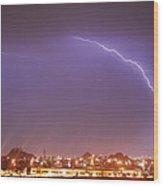 Desert Lightning Wood Print by Jennifer Nixon