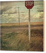 Deserted Red Stop Sign On The Prairies Wood Print by Sandra Cunningham