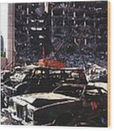 Destroyed Automobiles Near The Bombed Wood Print by Everett