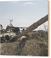 Destroyed Iraqi Tanks Near Camp Slayer Wood Print by Terry Moore