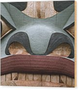 Detail Of A Totem Pole Wood Print