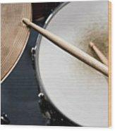 Detail Of Drumsticks And A Drum Kit Wood Print