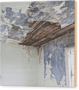 Deteriorating Ceiling In An Abandoned House Wood Print