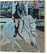 Determination - Horse And Rider - Horseshow Painting Wood Print
