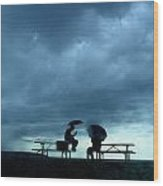 Determined Park Visitors Sit On Picnic Wood Print