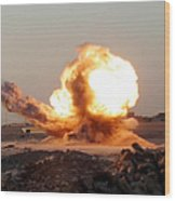 Detonation Of A Weapons Cache Wood Print