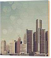 Detroit Dreamy Skyline Wood Print