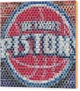 Detroit Pistons Mosaic Wood Print