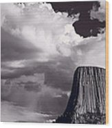 Devils Tower Wyoming Bw Wood Print